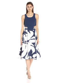 BCBGeneration Women's Blue Cutout Midi Dress