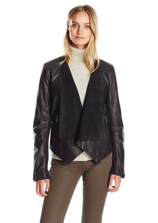 BCBGeneration Women's Drape Leather Jacket  L