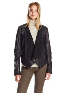 BCBGeneration Women's Drape Leather Jacket  M