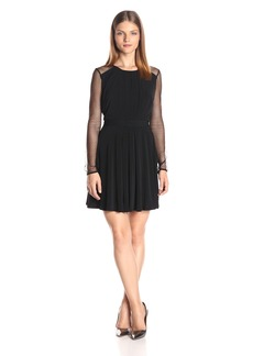 BCBGeneration Women's Dress with Dotty Mesh Sleeves