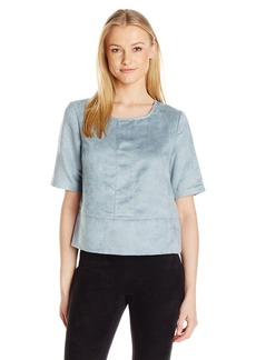 BCBGeneration Women's Faux Suede Seamed Boxy Top  X-Small