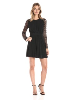 BCBGeneration Women's Fit and Flare Dress with Lace Sleeves