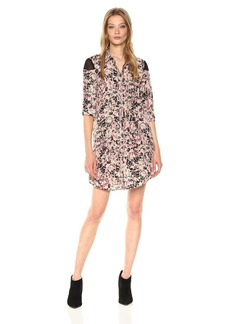 BCBGeneration Women's Floral Chiffon Shoulder Shirt Dress