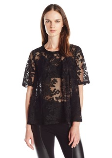 BCBGeneration Women's Floral Lace Open-Back Top