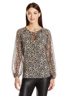 BCBGeneration Women's Floral Printed Ruffle Blouse  arge