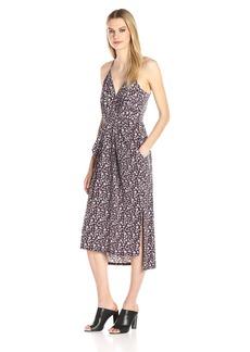 BCBGeneration Women's Sleeveless V-Neck Printed Faux Wrap Midi Dress