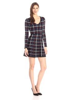 BCBGeneration Women's Grid Plaid Jacquard Sweater Dress Black/Combo