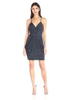 BCBGeneration Women's Jersey Draped-Skirt V-Neck Dress