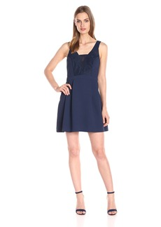 BCBGeneration Women's Woven Lace Insert Sleeveless Dress