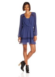 BCBGeneration Women's Long Sleeve Dress with Lace Inserts