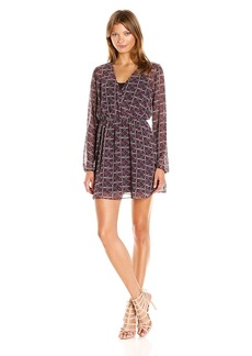 BCBGeneration Women's Long Sleeve Printed Boho Dress  L