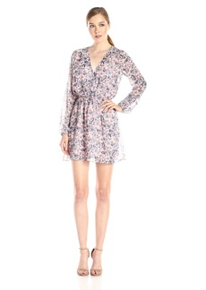 BCBGeneration Women's Long Sleeve Printed V Neck Dress