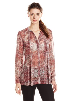 BCBGeneration Women's Mauve Mist Print Box Pleat Button-Up Top