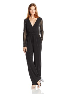 BCBGeneration Women's Mesh Sleeve Jumpsuit