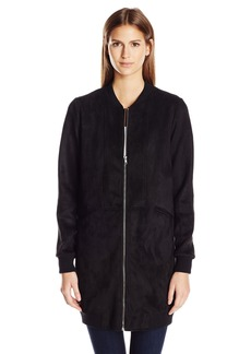 BCBGeneration Women's Mixed Media Long Bomber Coat