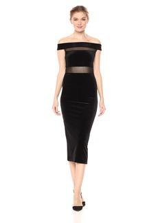 BCBGeneration Women's Off Shoulder Velvet Contrast Dress