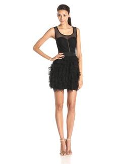 BCBGeneration Women's Paneled-Bodice Ruffled Dress