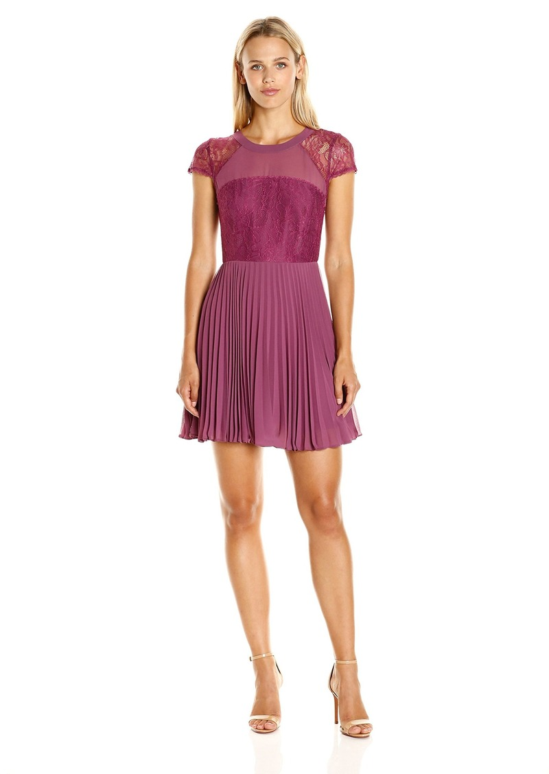 BCBGeneration Women's Pleated Dress with Lace Contrast