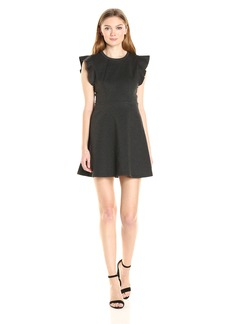 BCBGeneration Women's Ponte Flutter Sleeve Dress