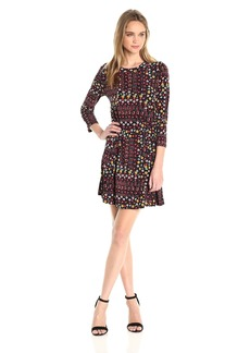 BCBGeneration Women's Printed a-Line 3/4 Slv Dress