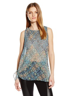 BCBGeneration Women's Printed Asymmetrical Pleated Top