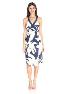 BCBGeneration Women's Printed Faux-Wrap Midi Dress