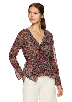BCBGeneration Women's Printed Handkerchief Hem Surplice Top