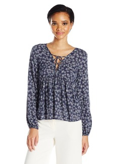 BCBGeneration Women's Printed Lace-up Blouse
