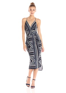 BCBGeneration Women's Printed Midi Faux Wrap Dress