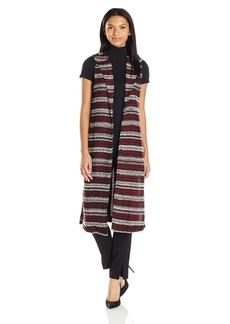 BCBGeneration Women's Printed Seamed Lapel Long Vest
