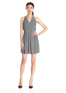 BCBGeneration Women's Printed Surplice Halter Dress Printed Combo