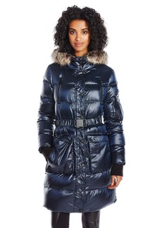 BCBGeneration Women's Puffer Coat With Cinch Waist and Faux Fur Hood  L