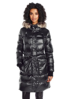 BCBGeneration Women's Puffer Coat with Cinch Waist and Faux Fur Hood  XL