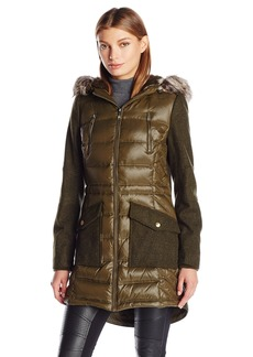 BCBGeneration Women's Puffer Wool Anorak Coat  XL