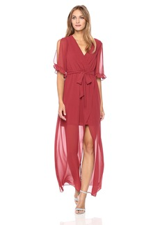 BCBGeneration Women's Ruffle Sleeve Wrap Maxi Dress  L