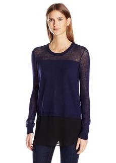 BCBGeneration Women's Sheer Blocking Fabric Mix Sweater