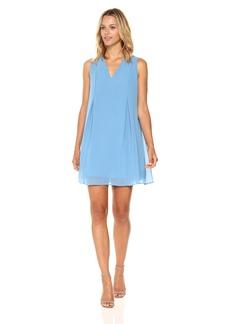 BCBGeneration Women's Sleeveless V-Neck Bow Bak Dress Parisian Blue XS