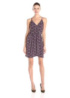 BCBGeneration Women's Sleeveless Floral Printed Faux Wrap Dress