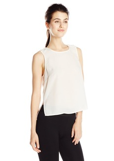 BCBGeneration Women's Sleeveless Pearl-Trim Top