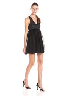 BCBGeneration Women's Sleeveless V Neck Tulle Skirt Dress