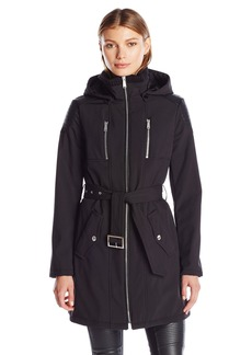 BCBGeneration Women's Softshell Long Coat with Hood  L
