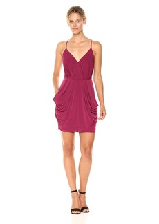 BCBGeneration Women's Spaghetti Straps Faux Wrap Dress  L
