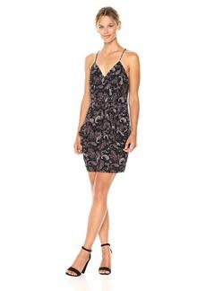 BCBGeneration Women's Spaghetti Straps Faux Wrap Dress  M