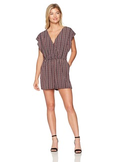 BCBGeneration Women's Stripe Ruffle Sleeve Romper
