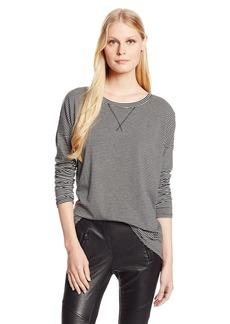 BCBGeneration Women's Striped V Neck Surplice Tunic Shirt Heather Grey/Black