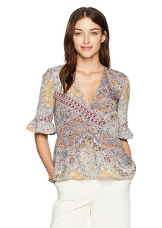BCBGeneration Women's Surplice Bell Sleeve Top