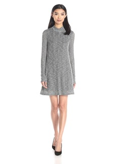 BCBGeneration Women's Turtle Neck A-Line Dress Black/Combo