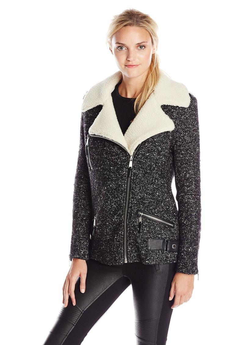 BCBGeneration Women's Tweed Moto Coat with Sherpa Collar