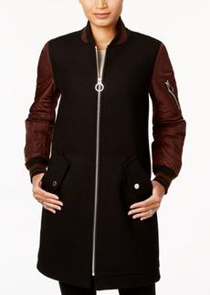 BCBGeneration Wool-Blend Striped-Cuff Walker Coat