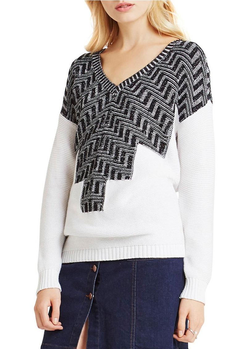 BCBGENERATION Zig-Zag Intarsia V-Neck Sweater